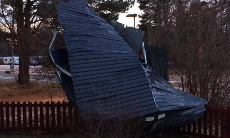 Swede wakes up with neighbour's roof in his garden