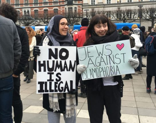 'It could happen here too': Stockholmers protest Trump's travel ban
