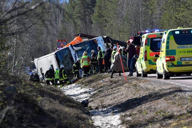 Three dead as bus carrying school children crashes in northern Sweden