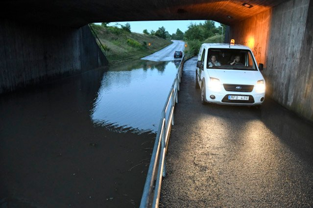 In pictures: Heavy rain causes flooding in southern Sweden