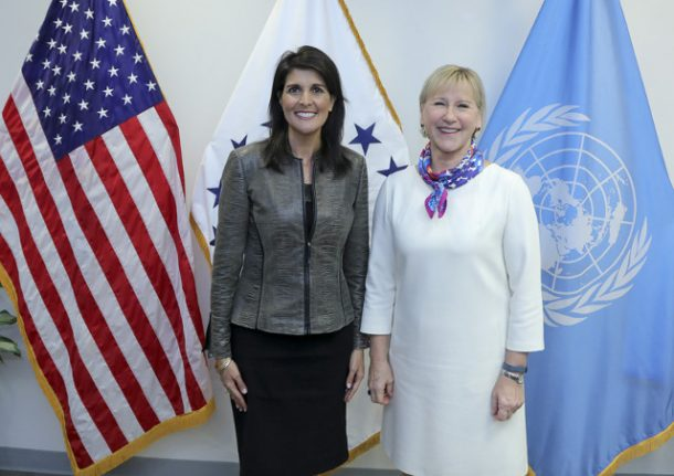 Swedish foreign minister Wallström holds first meeting with US ambassador to UN Haley