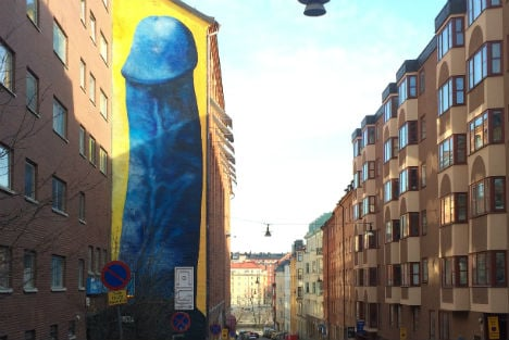 Stockholm's giant penis mural to be covered up after complaints