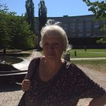 """""""You should just enjoy the sun while it's here, with friends it's even better! I love to go picnic at the end of the day, when it's less hot, in parks outside the city centre,"""" says Marie-Louise, 74 years old, retired and living in the south of Stockholm. """"The current weather is not normal but we shouldn't worry too much about it"""". Photo: Gaïa Jouan"""