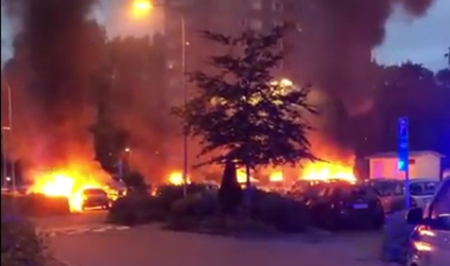 VIDEO: Masked thugs torch cars in Swedish suburb