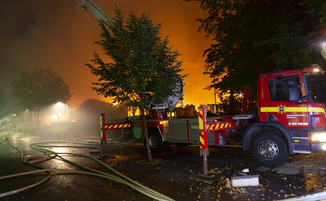 Two apprehended for arson after serious fire at Uppsala school