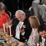One of the prize-winners in physics, Donna Strickland, is pictured (L) next to Sweden's king.Photo: Fredrik Sandberg / TT