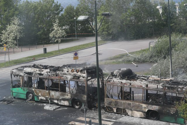 IN PICTURES: Bus bursts into flames in Malmö