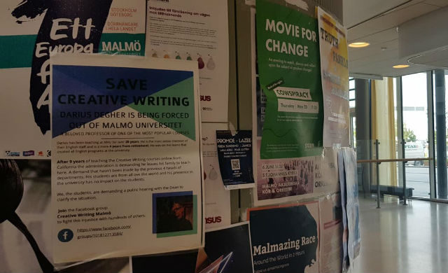 Malmö creative writing students rally to save popular American lecturer