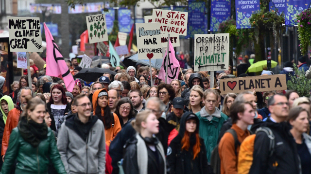 In Pictures: Tens of thousands strike for the climate in Sweden