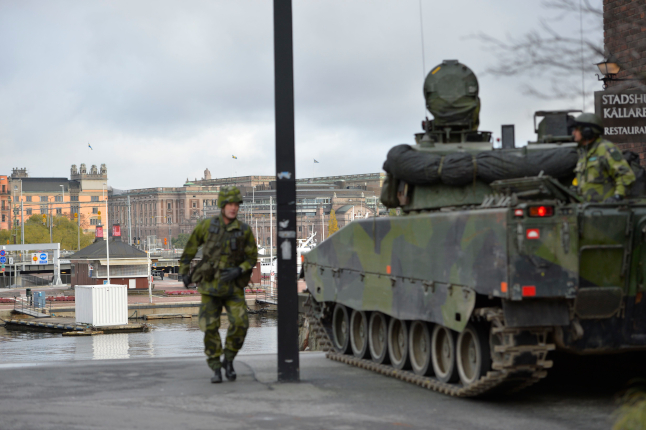 Why are there 200 soldiers walking around in central Stockholm?