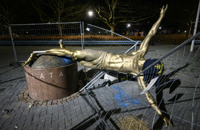Zlatan statue toppled by vandals in Malmö