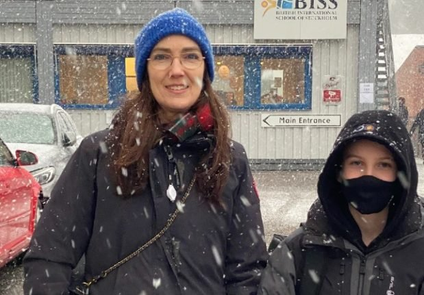 Linus (right) and his mother Sarah Jefford outside BISS.