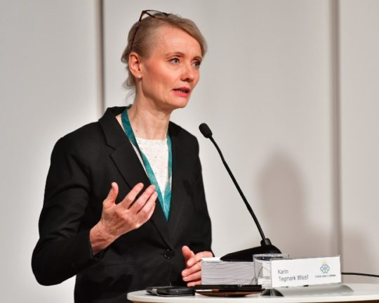 Karin Tegmark Wisell led the Public Health Agency's biweekly press conference on Thursday.