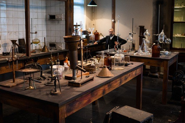 The interior of the laboratory of Alfred Nobel, where powder trials and experiments with artificial rubber and synthetic threads were carried out, in Karlskoga, Sweden