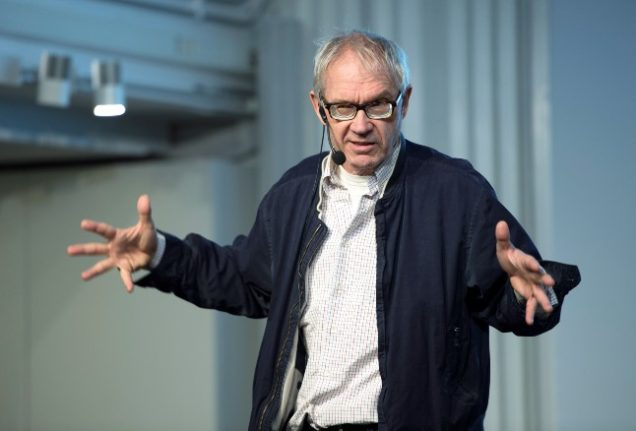 The Swedish artist Lars Vilks gives a lecture in 2015