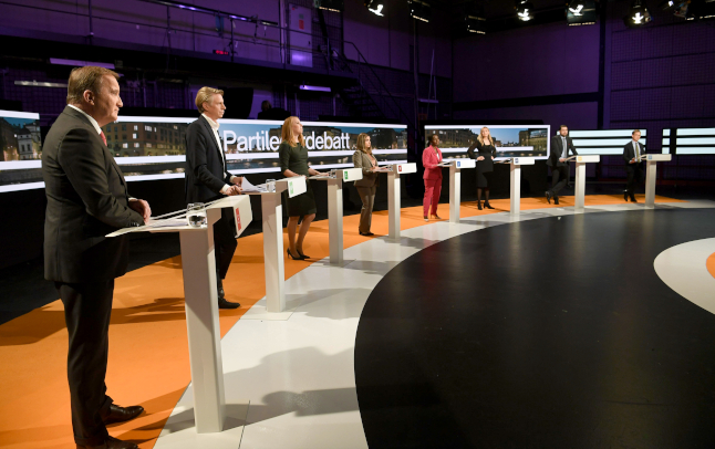 Sweden's party leaders on stage.